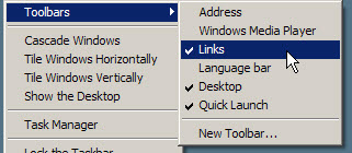 Add Links to the Windows Taskbar