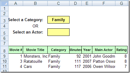 Movie Collection Database in Excel