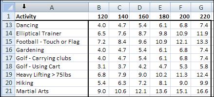 Excel Calorie Burn 02