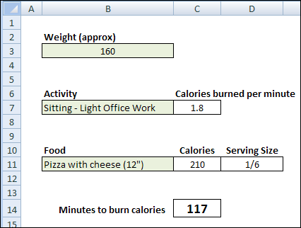 Excel Calorie Burning Calculator Contextures Blog