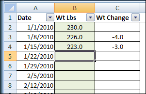 weight loss charts excel