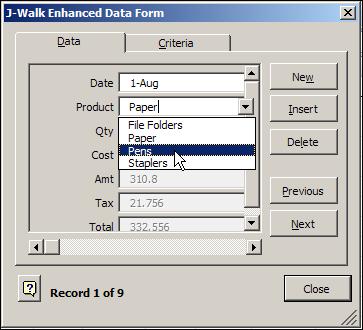 Excel Data Form