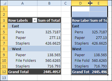 Copy Pivot Table Format and Values