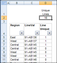 Count Unique Items in Excel Filtered List