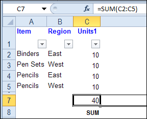 Sum Filtered List With SUBTOTAL