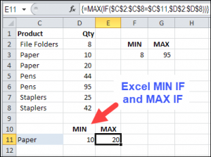 Excel MIN IF and MAX IF