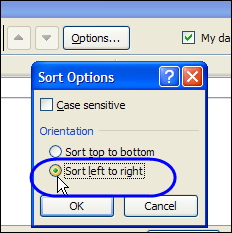 Sort a Row in Excel