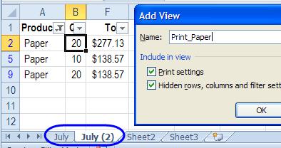 Excel Custom Views Tricks