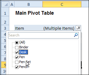 Change All Pivot Tables With One Selection