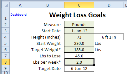 Updated Excel Weight Loss Tracker