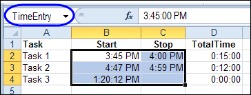 Track Time in Excel with VBA – Contextures Blog