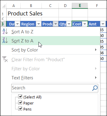 Create an Excel Table from a List