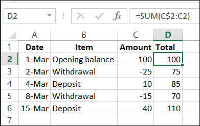 running total on a worksheet