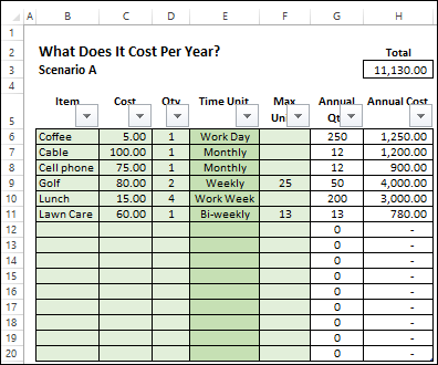 Calculate Annual Costs And Savings In Excel Contextures Blog