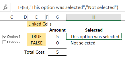 Use Check Box Result in Excel Formula
