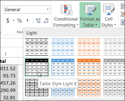 Create an Excel Table With a Specific Style