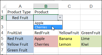 Conditional Drop Down Lists in Excel