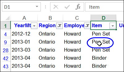 Click a Cell to Filter Excel Column
