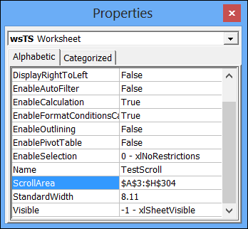 Prevent Scrolling on Excel Worksheet