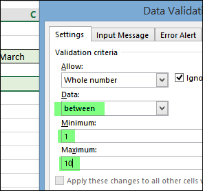 Show Input and Error Messages in Excel