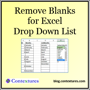 Remove Blanks for Drop Down List in Excel blog.contextures.com