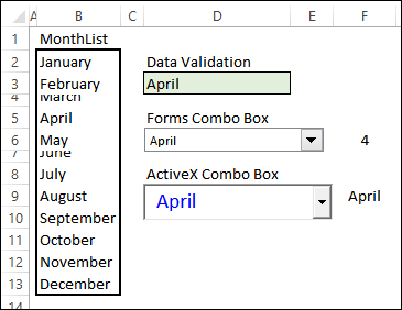 Adding Form Controls on a Worksheet