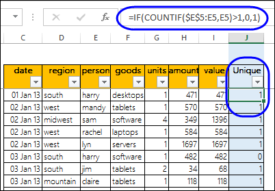 Unique Count in Excel Pivot Table