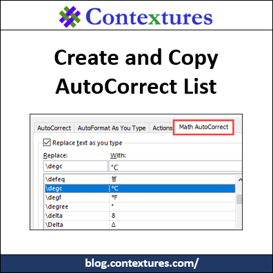 Create and Copy AutoCorrect List Items