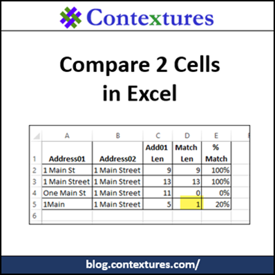 Compare 2 Cells in Excel http://blog.contextures.com/