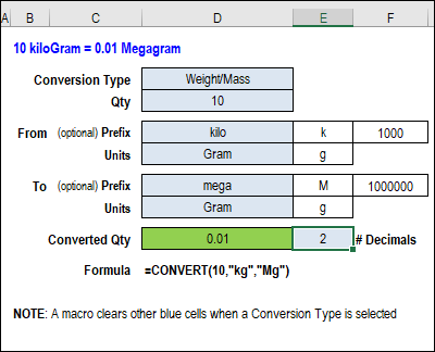 Excel CONVERT Function With Drop Down Lists