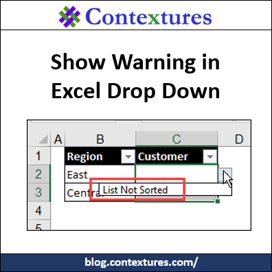 Show Warning in Excel Drop Down