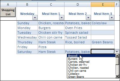 weekly meal planner excel