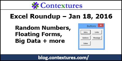 Excel Roundup 20160118 – Contextures Blog