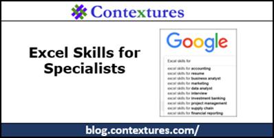 Excel Skills for Specialists http://blog.contextures.com/