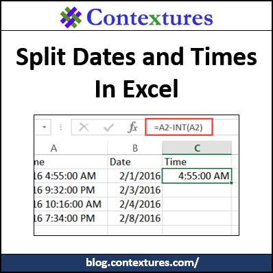 Split Dates and Times http://blog.contextures.com/
