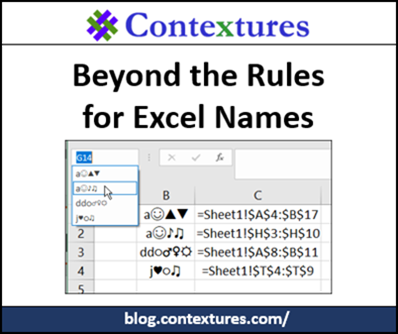 Beyond the Rules for Excel Names http://blog.contextures.com/
