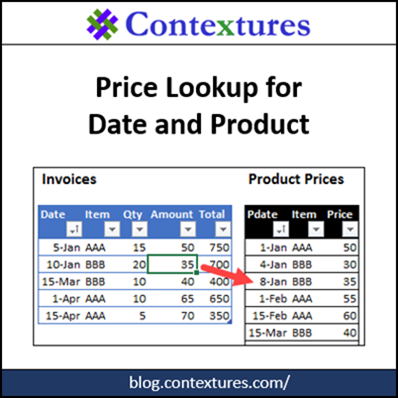 Price Lookup Based on Date and Product http://blog.contextures.com/