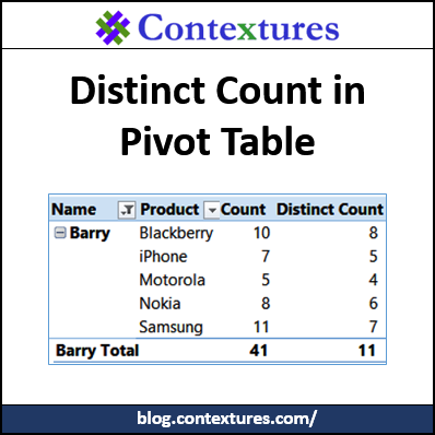 Distinct Count in Pivot Table