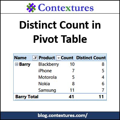 Count Unique in Excel Pivot Table – Contextures Blog