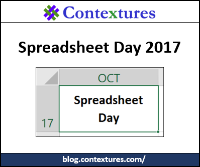 Happy Spreadsheet Day 2017 http://blog.contextures.com/