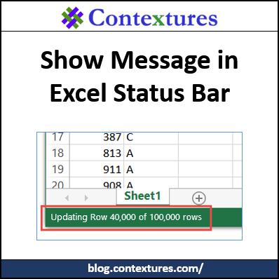 Show Message in Status Bar http://blog.contextures.com/