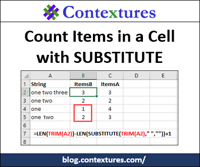 Count Items in a Cell with SUBSTITUTE