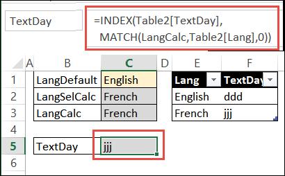 index match formula returns TextDay code