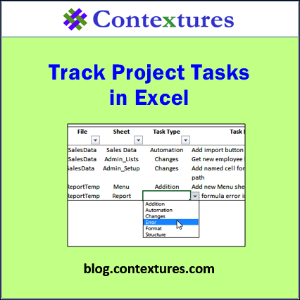 track project tasks in excel contextures blog