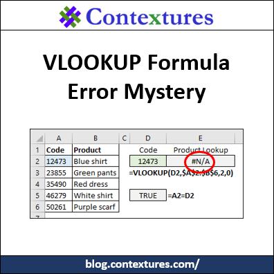 Excel VLOOKUP Formula Error Mystery