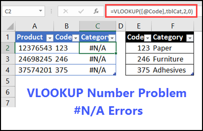 Excel VLOOKUP Problem Numbers