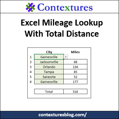 Excel Mileage Lookup With Total Distance