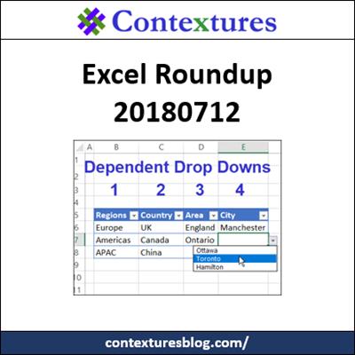 Excel Roundup 20180712 http://contexturesblog.com/