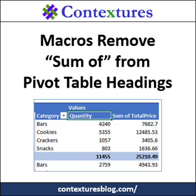 Remove Sum of in Pivot Table Headings