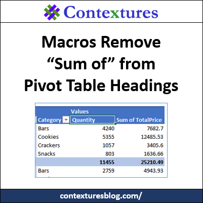 "Macros Remove ""Sum of"" from Pivot Table Headings http://contexturesblog.com/"